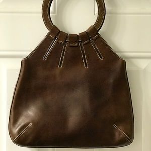 COUTURE DONALD PLINER BROWN ITALIAN LEATHER TOTE